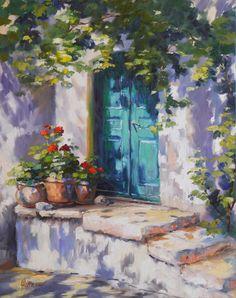 """Malerin Ute Herrmann  """"Geranien im Licht"""" 100x80 cm Landschaften der Provence, grüne Tür, Garten, Gemälde, Ölbild, Impressionist, Ferienhaus, Romantik"""
