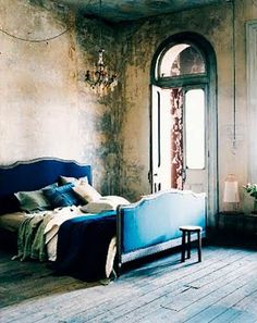 Vintage bedroom in blue velvet