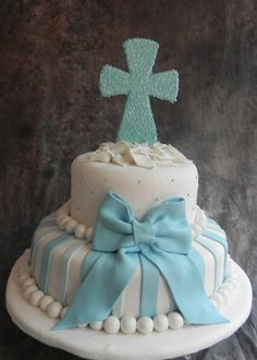 Baby dedication cake but with pink and white, minus the cross