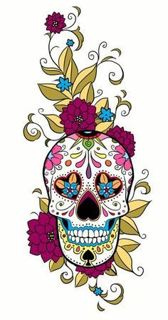 I love sugar skulls, I wish I had the nerve to actually get a tattoo of one. tattoo ideas, arm tattoos, mexican folk art, color, purple flowers, ...