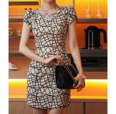 Onsale vestidos outono-verão novas fashion2013 cintura senhoras vestido de escritório padrão geométrico impressão plus size mulheres altas clothing966 # $15,79