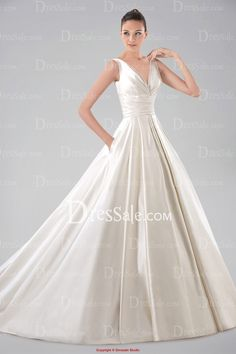 Minimalist V-neckline Ball Gown Satin Wedding Dress with Pockets and Pleats. Another possibility. I love the idea of a wedding dress with pockets!!