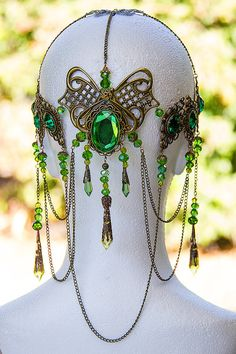 "Headdresses Pagan Wicca Witch:  ""Emerald Dreams"" Bronze-over organza to keep it from catching on my hair"