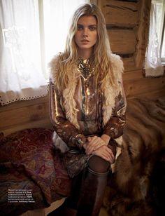 Marina Linchuk for Vogue Russia November 2011 Photos by Mario Vivanco  Dress  - Etro Boots - Gucci  Belt - H&M Acessories - Anthony Henus