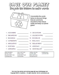Recycle the Letters, Word Scramble Puzzle - Free Coloring Pages for Kids - Printable Colouring Sheets
