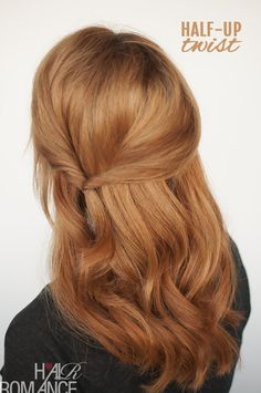 Sick of brushing your hair off your face? Try this simple half-up with a twist hairstyle...