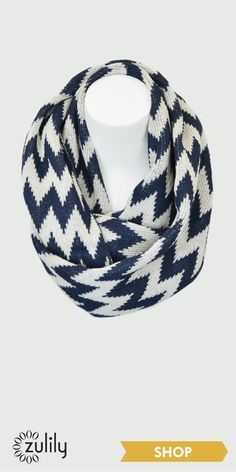 Navy and White Zigzag Infinity Scarf