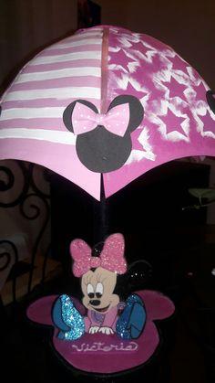 Baby Minnie  lampara  sombrilla en foami