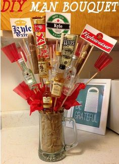 I've never gotten one, but I've seen my other guy friends get them from their special ladies, and they're usually a huge hit! Click/Tap this pic for a cool DIY Man Bouquet tutorial. Man Bouquet, Gift Bouquet, Alcohol Bouquet, Booze Bouquet, Craft Gifts, Diy Gifts, Party Gifts, Diy Man, Beer Coasters