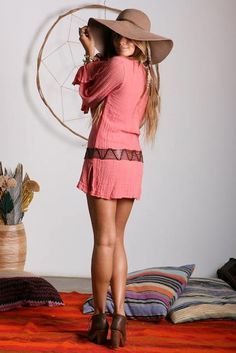 Pink mini dress, leather belt, ankle boots & floppy hat. Pretty bohemian summer outfit.