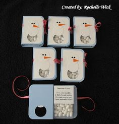 """Snowman Kisses""--snowman cards made with tic-tacs. Template available"