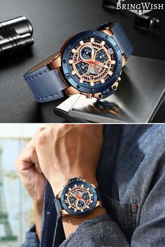 Cool Affordable Men's Casual Chronograph Leather Watch For Sale On BringWish # watches for men unique Zincon Men's Casual Chronograph Leather Watch Mens Watches Under 100, G Shock Watches Mens, Movado Mens Watches, Watches For Men Unique, Mens Watches For Sale, Fossil Watches For Men, Mens Watches Leather, Vintage Watches For Men, Luxury Watches For Men