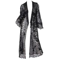 Preowned Edwardian Embroidered Soutash Net Duster ($2,800) ❤ liked on Polyvore featuring outerwear, coats, jackets, black and tops