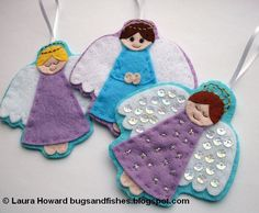 Today, here's the instructions for making the first style of felt angel ornaments (instructions for the second style will be post. Christmas Angel Crafts, Felt Christmas Decorations, Felt Christmas Ornaments, Christmas Projects, Handmade Christmas, Birthday Decorations, Felt Angel, Fish Crafts, Felt Patterns