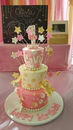 Pink and gold star birthday cake. Twinkle Twinkle little star birthday cake