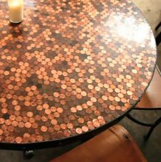 Coin coffee table top - yep, can't wait
