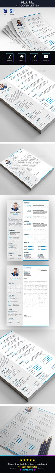 Resume A4 Template PSD, DOCX