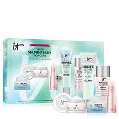 Shop IT Cosmetics's Your Selfie-Ready Skincare at Sephora. This gift set featuring full-size makeup primer, and lip treatment, plus travel sizes of eye cream, moisturizer, and micellar water. It Cosmetics Mascara, Mascara Primer, It Cosmetics Brushes, Best Makeup Primer, Best Makeup Products, Brow Palette, Cosmetic Brush Set, Oil Free Makeup