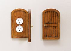 Wooden Rustic Decorative Hobbit Fairy Door Outlet Switchplate Cover Novelty Home Hidden Door Home Decor Unique Gift