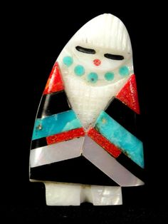 Colorful Inlay CORN MAIDEN Fetish carving, shell, by Cheryl Beyuka, Zuni Pueblo Indian, Native American New Mexico Sculpture figurine art