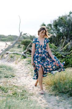 Tuscan Maxi Dress.  Boho floral dress. Floral Maxi