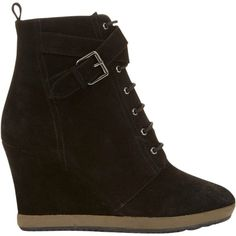 Mint Velvet Helen Wedge Heeled Ankle Boots , Black Suede ($210) ❤ liked on Polyvore featuring shoes, boots, ankle booties, black suede, black bootie, wedge boots, black boots, lace up booties and bootie