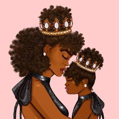 Black Love Art, Pretty Black Girls, Black Girl Art, My Black Is Beautiful, Black Girl Magic, Art Girl, Beautiful Things, Mother Daughter Art, Queen Mother