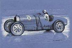 "Hellé Nice - Bugatti Type 35C - La Baule 1931  Pen&ink and white markers on 9.5""x 6.5"" blue archival paper © Paul Chenard 2016  Original art available"