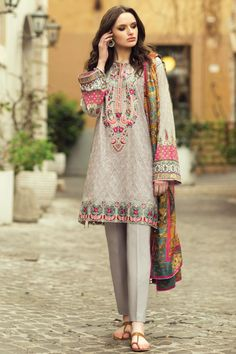 Elegant sand color 3 piece unstitched pret dress by Zara shahjahan casual collection 2018 Pakistani Fashion Casual, Pakistani Dresses Casual, Pakistani Dress Design, Indian Dresses, Indian Outfits, Kurti Designs Party Wear, Kurta Designs, Oriental Fashion, Asian Fashion
