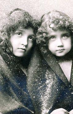 Vintage postcard of two sweet children.
