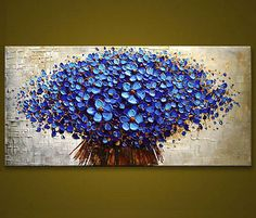 Modern hand-painted Art Oil Painting Wall Decor canvas,Blue Flower(No Frame)