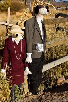 Scarecrows are familiar sights in rural autumn landscapes around Park City, Utah.