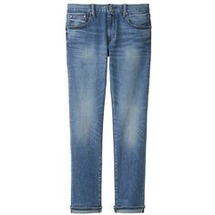 UNIQLO Selvedge Slim Fit Jeans ($26) ❤ liked on Polyvore featuring men's fashion, men's clothing, men's jeans, blue, mens blue jeans, mens ripped jeans, mens distressed jeans, mens destroyed jeans and mens slim cut jeans