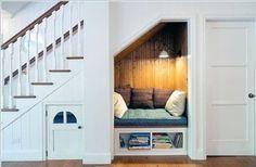 Home Interior Design — Cozy Reading Nook under Stairs in Clean, White. Under Stairs Nook, Under Staircase Ideas, Cozy Nook, Stair Storage, Hidden Storage, Staircase Storage, Wine Storage, Book Nooks, Reading Nooks
