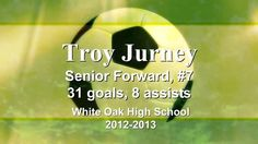 Troy Jurney, Senior Forward from White Oak High School. Highlight Reel of games 2012-2013. 31 goals & 8 assists in one year. Featured as Pepsi Player of the Week on WITN News.