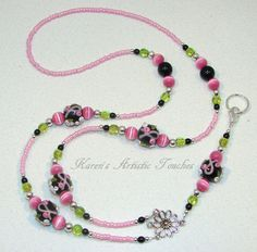 Breast Cancer Awareness Flower Black Pink Green Beaded Lanyard ID Holder