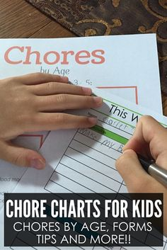 Free Printable Chore Charts for Kids! Includes blank forms and even a list of Chores by Age!