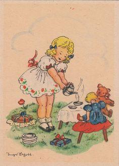 Children's illustration - tea.  AK Kinder Inge Schott Mädchen bewirtet Puppe und Teddy Bär