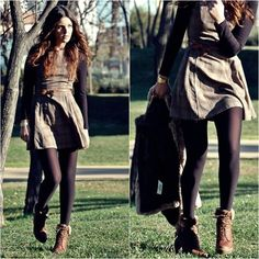 dress with tights and boots