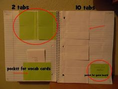 love the pocket for vocab words. i like the idea of including foldables in the reading notebook for reference. Forghani Forghani Baechler Techau - thought this may be something fun. Havent looked at it-so not sure if it is too young for your class Interactive Student Notebooks, Math Notebooks, Reading Notebooks, Writing Journals, Learn Espanol, Math Classroom, Classroom Ideas, Classroom Organization, Spanish Classroom