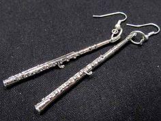 Flute Earrings silver long Instrument Music by miniblings on Etsy, €14.99