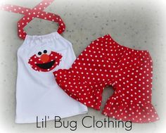 Custom Boutique Clothing Sesame Street Elmo Red by LilBugsClothing, $45.00