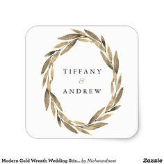 Modern Gold Wreath Wedding Sticker  #wedding #invitations