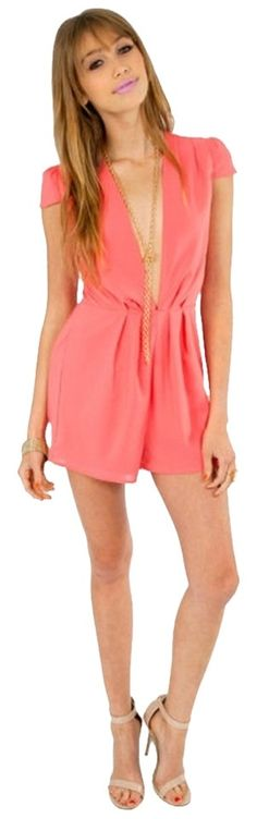 7f4cd829c812 Tobi Coral Gabrielle Romper Jumpsuit. Free shipping and guaranteed  authenticity on Tobi Coral Gabrielle