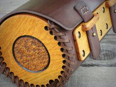 Hand sewn motorcycle Wood-Leather fork bag with carved oak