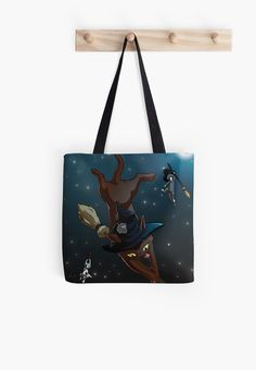 Witch Cat Apprentices Tote Bag by NamiBear on RedBubble.com. This is an illustration of three cats that are witch apprentices and are practicing riding their brooms on the moon lit starry night.