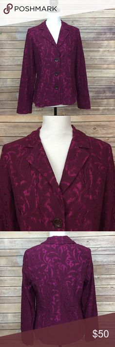 CAbi Purple Lace Blazer Size 6 style # 128. Material is cotton, nylon and polyester blend. 2 contrasting purple colors. This gorgeous blazer would be great with jeans or dress pants. Casual or career! CAbi Jackets & Coats Blazers