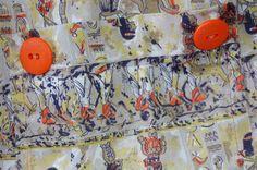Vintage Smock Apron Egyptian Print Orange by LittleGhostVintage