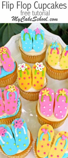 CUTE Free Tutorial for Flip Flop Cupcakes by http://MyCakeSchool.com! Perfect for summer parties and SO easy!