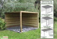 Abri de jardin en bois samara p 44mm leroy for Abri bois ouvert